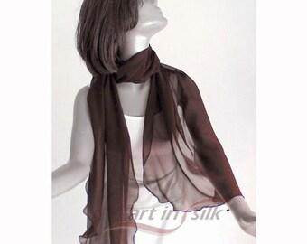 "Dark Brown Shawl, Sheer Brown Chiffon, Chocolate Wrap, Long Coverup, Natural Mulberrry Silk, Evening Formal Scarf, 19x84"", Artinsilk."