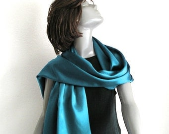 "Emerald Shawl Wrap, Pure Silk Charmeuse, Formal Shawl, Evening Wrap, Deep Teal Green, One of a Kind, Hand Hemmed, M L XL TALL, 21"" x 78""."