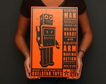 """Robot Art- Quelstar Art Block- 12"""" x 18""""- Pick the Robot Print for your Robot Nursery for Boys- Robot for Girls Room- Kids Wall Art"""