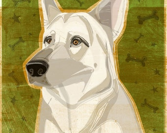 Dog Gifts- German Shepherd Print- White German Shepherd Art- German Shepherd- Gifts for Pet Lovers- Gifts for Dog Lovers- Gifts for Boss