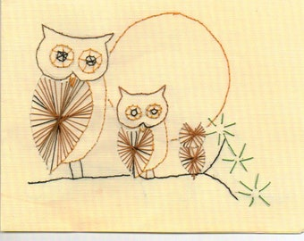 Hand Embroidered Owls Notecards