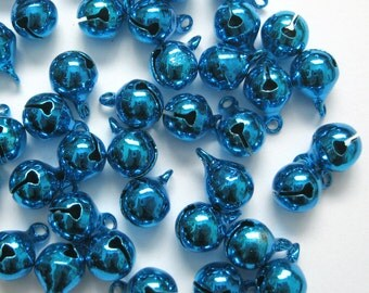 8mm Dark Blue Jingle Bells Charm Drop Bead w/ Tiny Clappers 50pcs