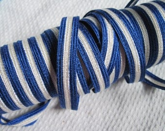 vintage trim blue and white striped 2 yards