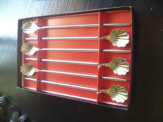 Vintage Straw Spoons Cocktail Stir Sticks Ice Tea Spoons
