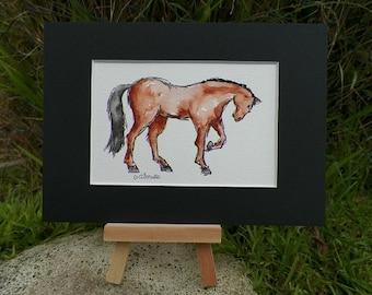 Fancy Horse Watercolor Art Original Painting by Equine Artist debra alouise