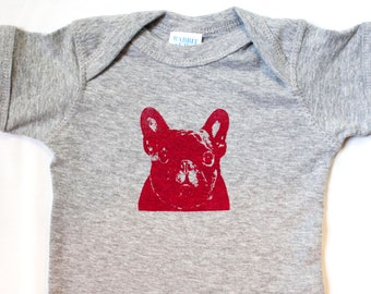 French Bulldog Baby Romper, Baby Shower Gift Favor, dog print t shirt, screen print - 6 or 12 months  - Heather dog screen print