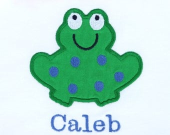 Personalized Bodysuit or Toddler Shirt Frog Applique for Baby Boys