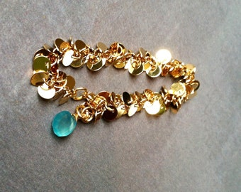 Something blue gold charm bracelet