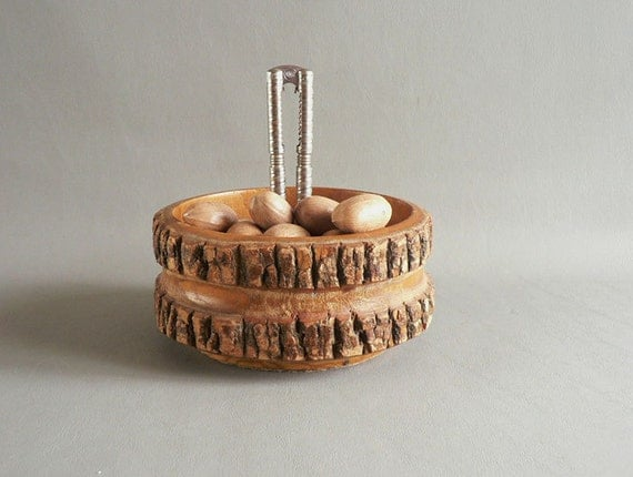 Tree Trunk Nut Serving Bowl With Nut Cracker