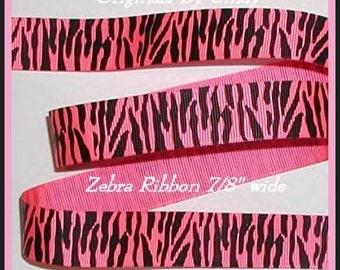 Pink Zebra Grosgrain Ribbon Hot Black Passion Fruit Safari Wild Stripes 5 y 7/8 wide cbseveneight