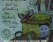 JOURNEY TRINKETS altered art therapy recovery survivor inspirationaL journey faith healing collage wings butterfly AcEO AtC PRiNT