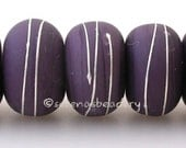 THAI ORCHID Matte with fine SILVER Wraps - Handmade Lampwork Glass Beads - taneres purple frosted