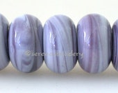 Lampwork Spacer Beads 5 BLUEBERRY MARBLE Glossy & Matte Handmade Glass Donut Rondelle Taneres purple violet