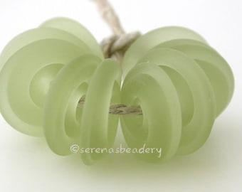 Wavy Disks MOJITO Green MATTE Lampwork Glass Beads - TANERES