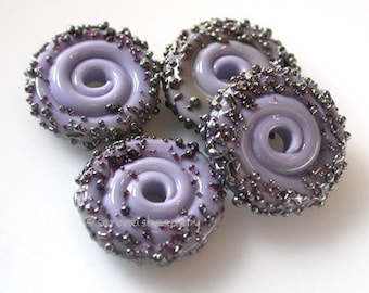 New Violet Luster Sugar Wavy Disks Lampwork Glass Beads - TANERES