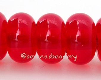 5 LIGHT RED Lampwork Spacer Glass Beads Glossy & Matte transparent Handmade Donut Rondelle