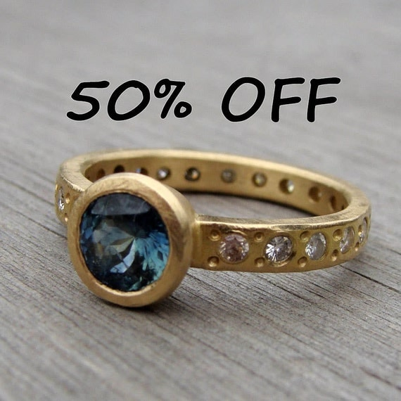 CLEARANCE - Fair Trade Montana Blue Sapphire, Moissanite, and Recycled 18k Yellow Gold Ring, Size 7.25