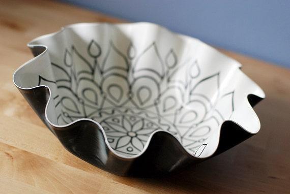 White Mandala Bowl - Tribal Inspired Geometric Design Hand Painted on Recycled Vinyl Record