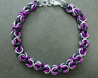 Byzantine Bracelet - Purple, Black, and Silver