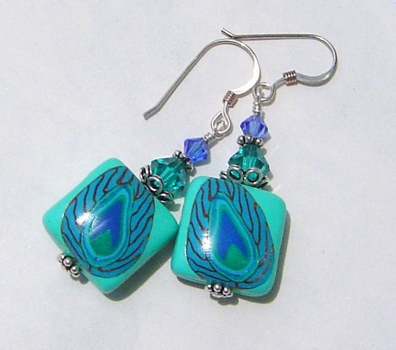 Handmade Jewelry Peacock Feathers  Polymer Clay and Sterling Silver Earrings