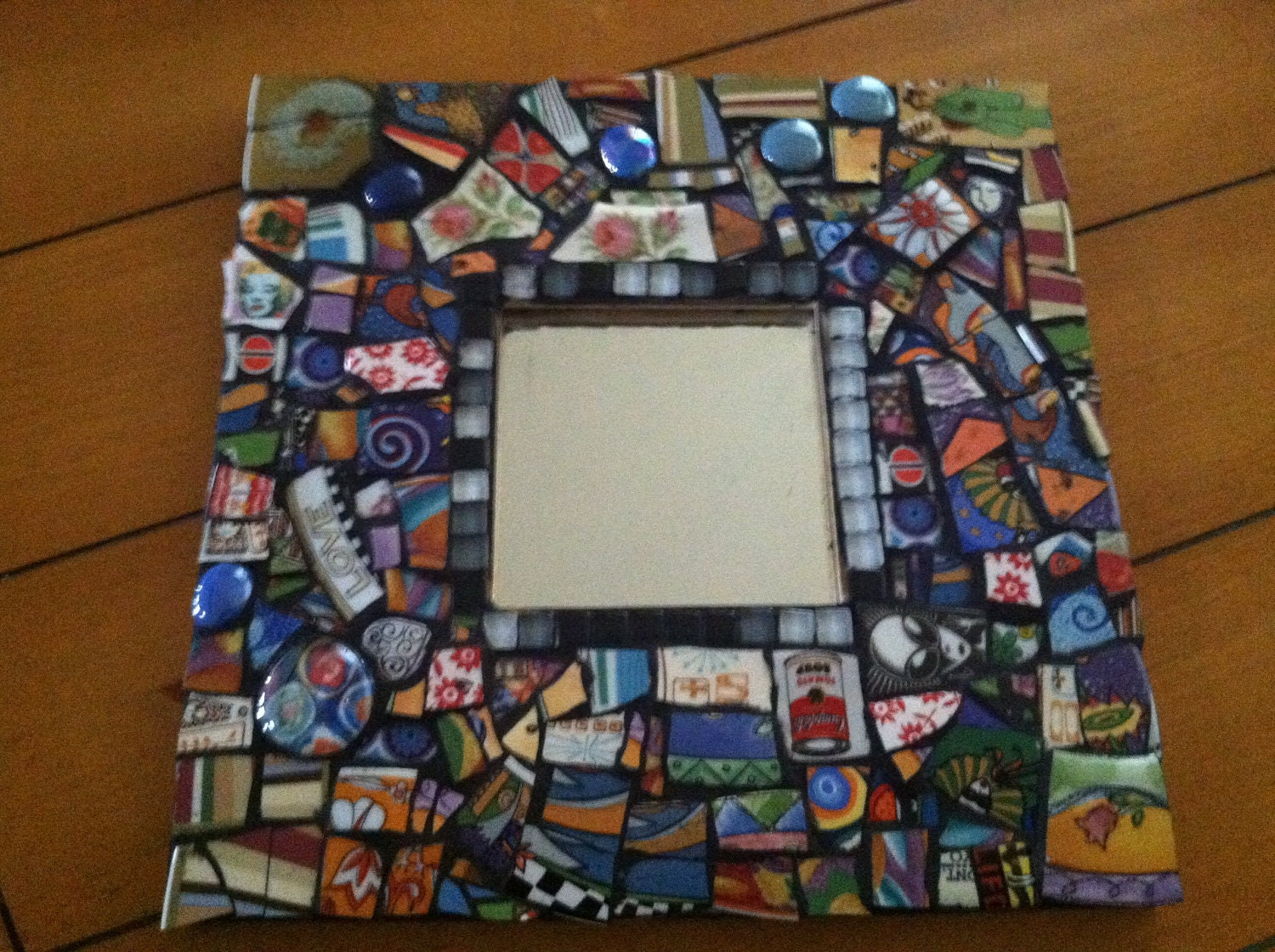 mosaic tile art colorful wall mirror broken plate face by