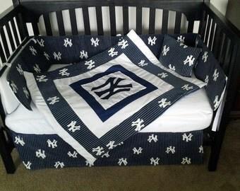 Custom made New York YANKEES full crib bedding set NY baseball