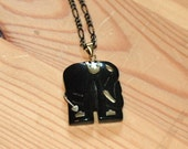 Black Onyx Elephant Pendant Necklace