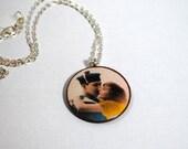 Kiss Wood Pendant Necklace
