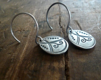 Petal Earrings Flourish Collection - Handmade. Oxidized fine and sterling silver dangle earrings