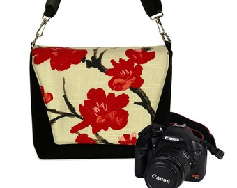 Digital Slr Camera Bag DSLR Camera Bag Purse Womens Camera Bag Case  Zipper Padded    - Deluxe Asian Cherry Blossom MTO