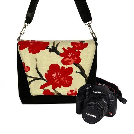 Digital Slr Camera Bag DSLR Camera Bag Purse Womens Camera Bag Case  Zipper Padded    - Deluxe Asian Cherry Blossom RTS