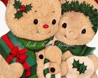Christmas Snowman In Love 1940s vintage Greetings Card Digital Download Images (267)