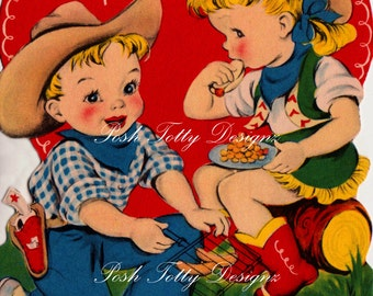 Valentines Cowboy and Cowgirl Vintage Digital Download Printable Image T-Shirt Iron-on Transfer (384)
