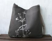Hemp Messenger Bag with Songbird on Flower Organic Cotton Lining - Charcoal Gray
