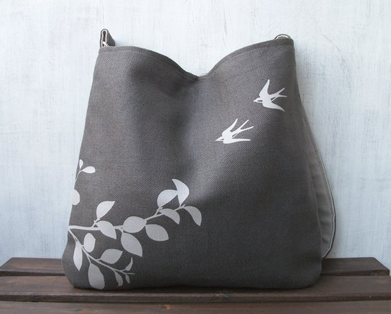Hemp Messenger Bag with Flying Swallows Organic Cotton Lining - Charcoal Gray