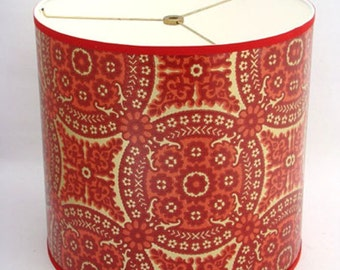 Drum Lamp Shade in 1960's Red & Gold Geometric Medallion Vintage Wallpaper