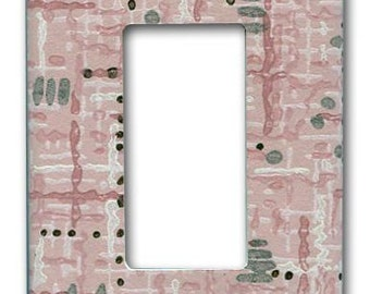 Decora Switch Plate 1950's Vintage Wallpaper Mid Century Pink Hatch