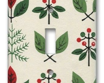 Happy Mod Forest Green Red Single Switch Plate 1950's Vintage Wallpaper