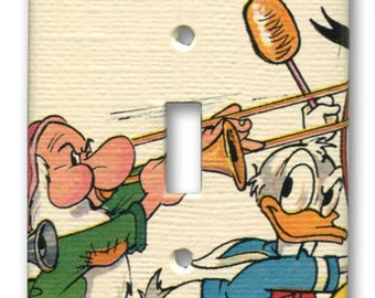 Donald Duck and Grumpy with Mickey Mouse Band Switch Plate 1970's Vintage Wallpaper