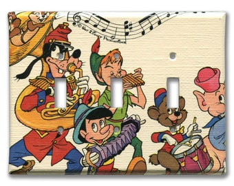 Disney's Goofy, Peter Pan, Pinocchio Triple Switch Plate 1970's Vintage Wallpaper