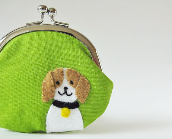 Coin purse beagle puppy on lime green