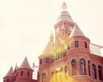 dallas texas photography, old red museum, architecture photography, brick building, red decor, orange decor, downtown Dallas