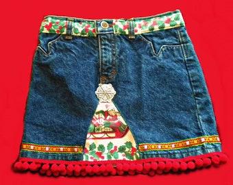 Christmas Jean Skirt