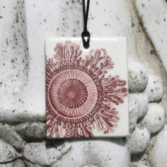 Ceramic Tile Pendant Necklace - fancy delicate ornament image of hydra - maroon and white - gift for the  marine biologist in your life