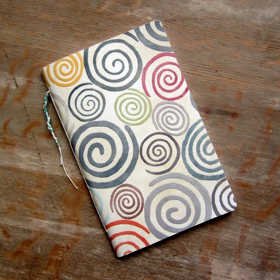 Notebook - Multicolor Swirls with Beaded Tail - 80 unliend pages