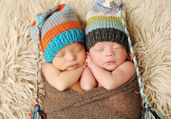 Newborn Knit Baby Hat Boy Girl BaBY PHoTO PRoP Long Tail Stocking Cap TaSSeL BeANiE Unisex Orange Grey Turquoise Stripe FCN ToQUE Pick Color