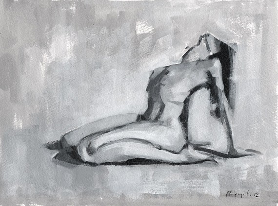 "Original Painting Figure Study Classical Female Form Nude Monochrome Sketch 9x12 - ""Tonal Figure Study 5"" by David Lloyd"