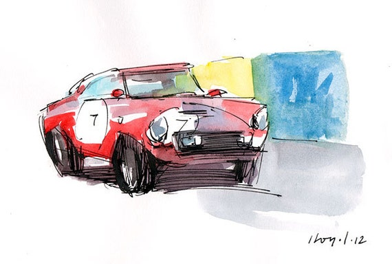 Original Drawing Auto Car Retro Race Painting Car By