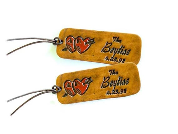 Custom Leather Luggage Tags Personalized with your initials, name and date for a couple that is truly in love