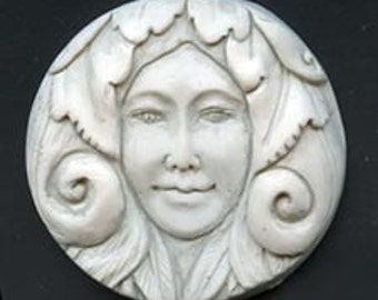 Polymer  Clay Faux Marble Art Nouveau Goddess Cab  ANC 11